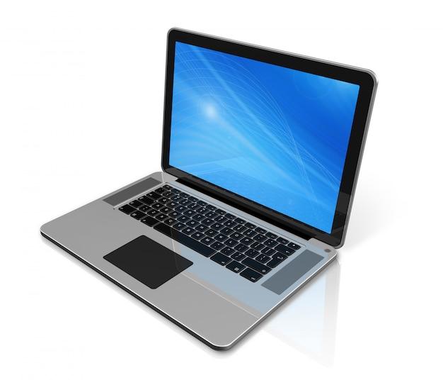 Computador portátil isolado no branco