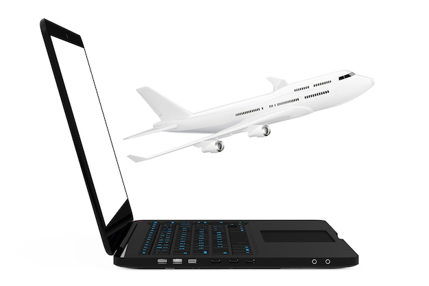Computador portátil moderno com avião de passageiro de jato branco voando para fora da tela em um fundo branco. renderização 3d.