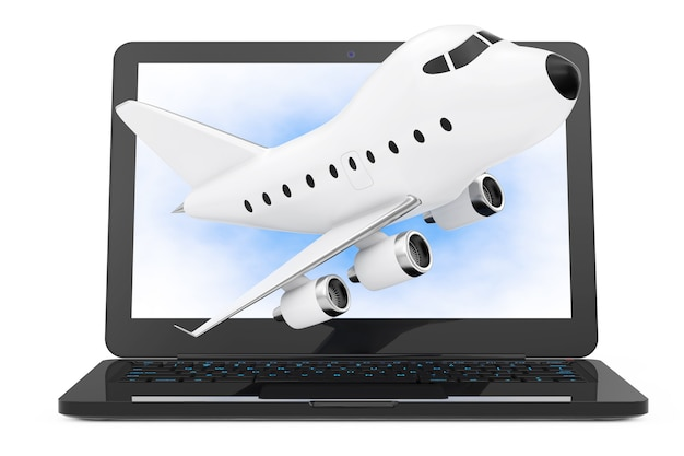 Computador portátil moderno com cartoon toy jet airplane voando para fora da tela em um fundo branco. renderização 3d.