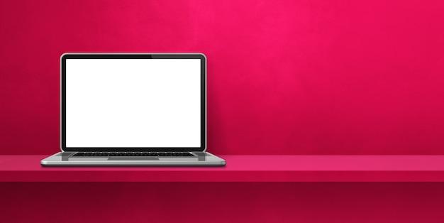 Computador portátil no banner de fundo de prateleira rosa. ilustração 3d