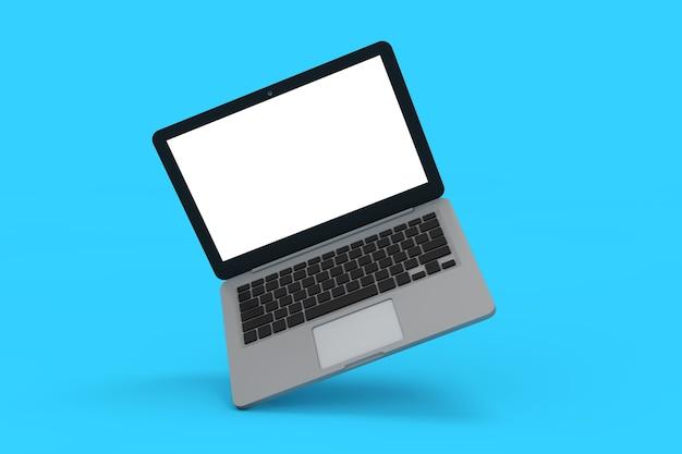 Computador portátil portátil moderno abstrato sobre um fundo azul. renderização 3d