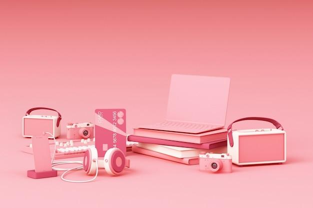 Computador portátil rodeado por gadgets coloridos na renderização em 3d fundo rosa