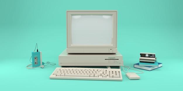 Computador retrô, reprodutor de áudio e câmera fotográfica