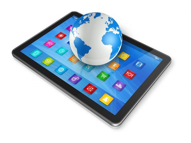 Computador tablet digital e globo do mundo
