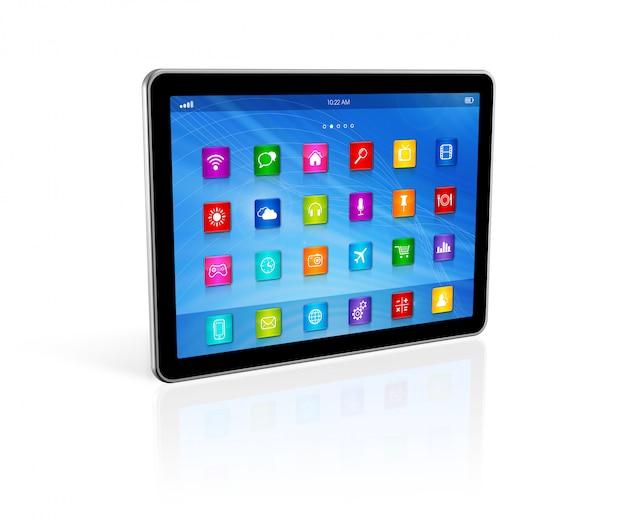 Computador tablet digital - interface de ícones de aplicativos