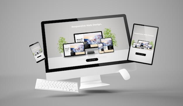 Computador, tablet e smartphone exibindo renderização em 3d de site responsivo