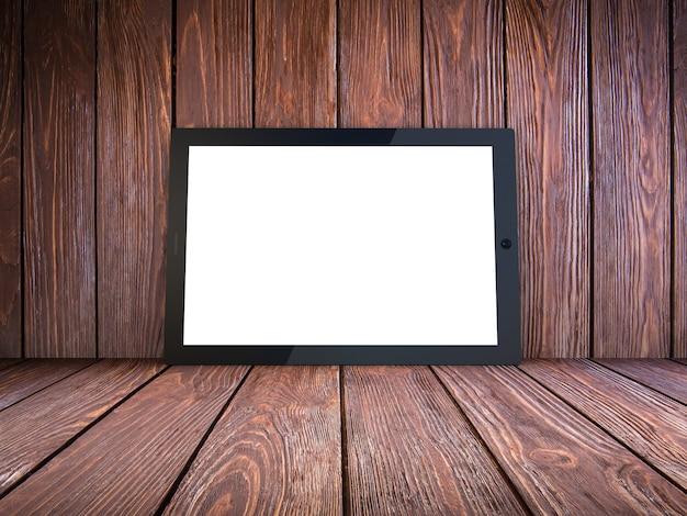 Computador tablet em madeira