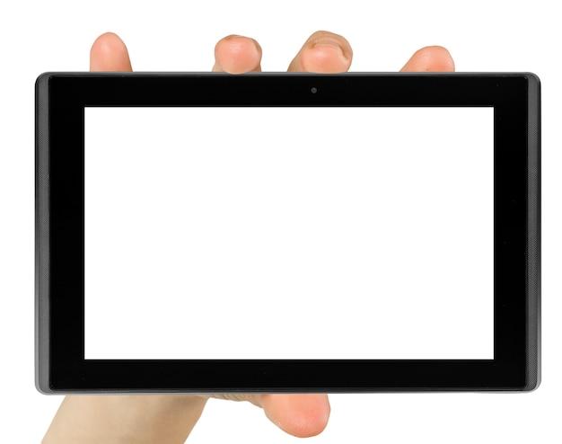 Computador tablet isolado em uma mão