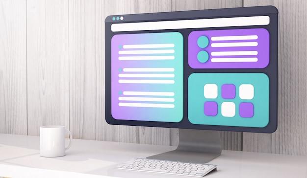 Computador ux design renderização em 3d