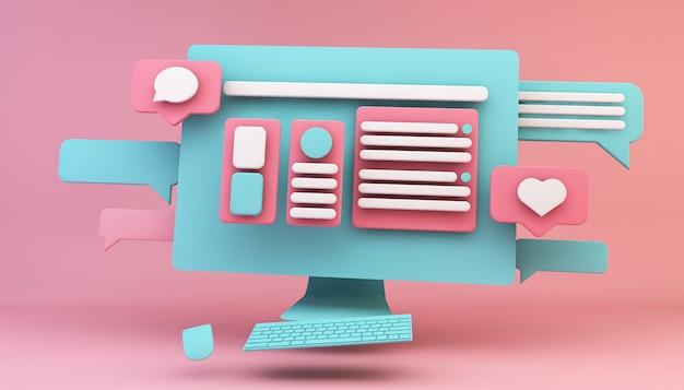 Computador web design conceito
