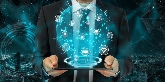 Comunicação avançada e conexão de rede global de internet em smart city