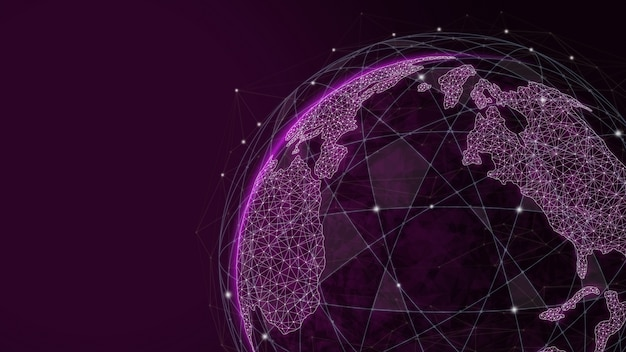 Comunicação criativa global e mapa da rede de internet