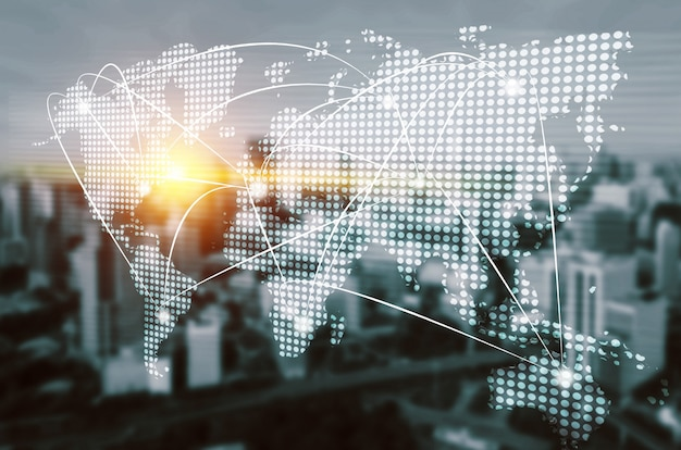 Comunicação criativa moderna e rede de internet se conectam na cidade inteligente