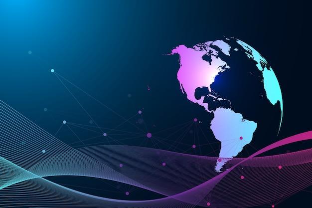 Comunicação de fundo abstrato gráfico virtual com o globo do mundo. cenário de perspectiva de profundidade. visualização de dados digitais, ilustração.
