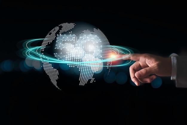 Comunicação global e conceito de tecnologia.
