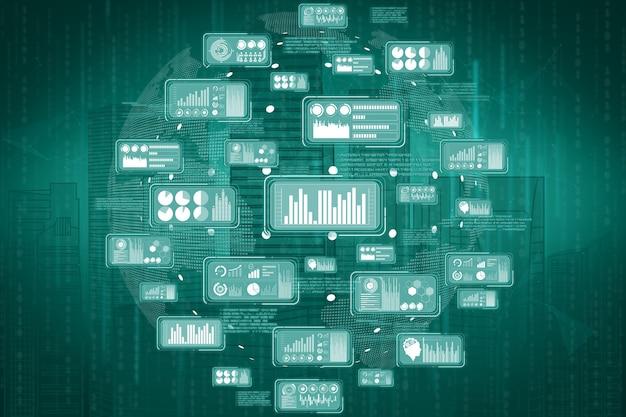 Comunicação internacional de ilustração 3d e rede avançada de internet.