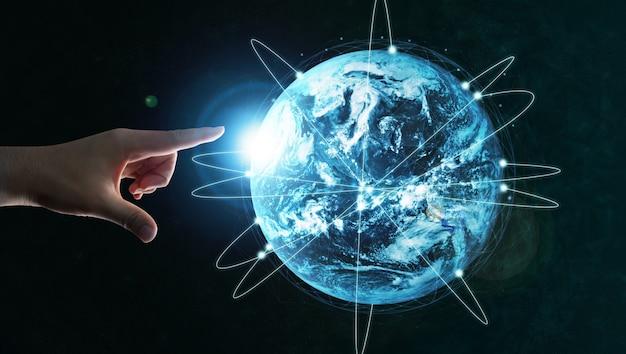Comunicação moderna e rede de internet conectada no mundo