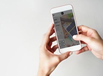 Comunicação, usando, smartphone, estilo vida, conceito