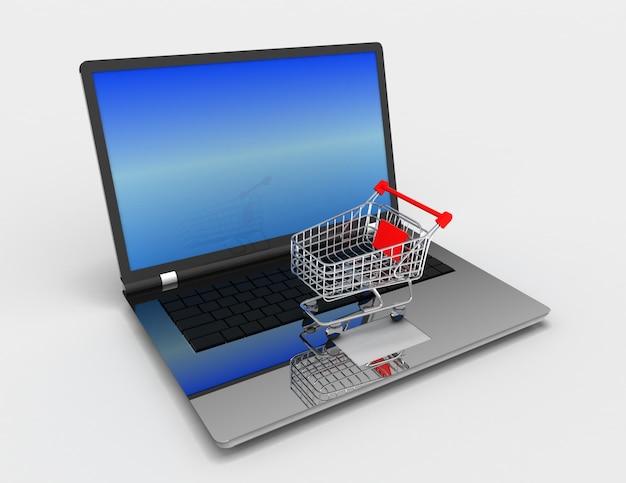 Conceito 3d de compras online