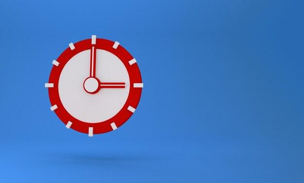 Conceito 3d de tempo. relógio analógico em azul pastel