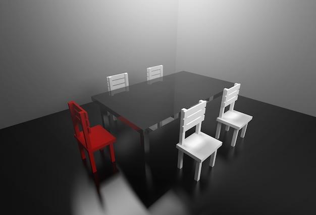 Conceito aborrecido da reunião da sala de reunião da rendição 3d.
