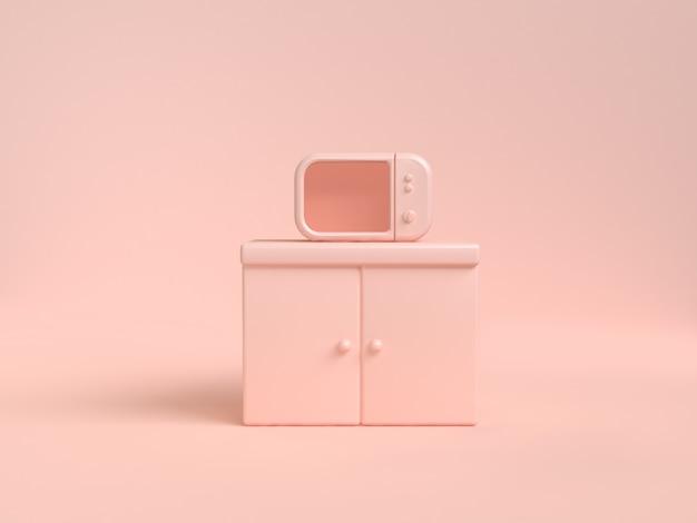 Conceito abstrato da cozinha do objeto da rendição 3d do rosa-creme macio da microonda