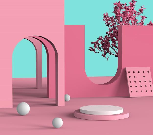 Conceito abstrato da forma do rosa pastel da fase do pódio para o produto da mostra ou a cena mínima cosmética, rendição 3d.