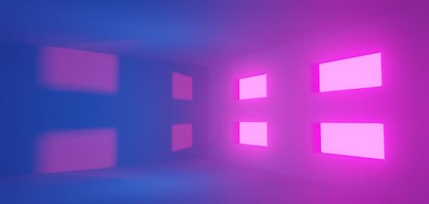 Conceito abstrato, salão espaçoso com rosa claro, roxo e azul vazio e quatro janelas - renderização em 3d.