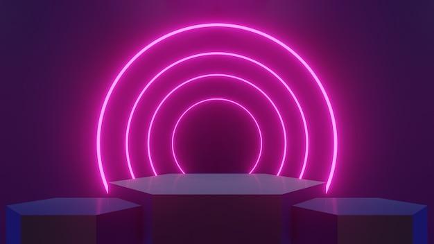 Conceito abstrato três carrinhos hexagonais alinhados e iluminados com luzes de brilho de laser de círculo rosa neon, usados para exibição de produtos e produtos - renderização 3d.