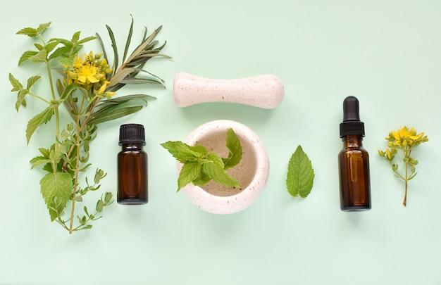 Conceito alternativo do fitoterapia, óleos essenciais e extratos, ervas frescas, almofariz e pilão em uma fileira.