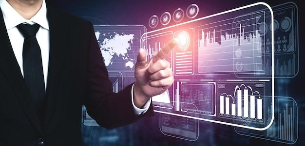 Conceito analítico de tecnologia de big data para finanças de negócios