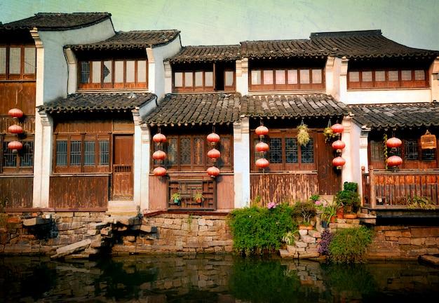 Conceito antigo da vila da casa da história de china