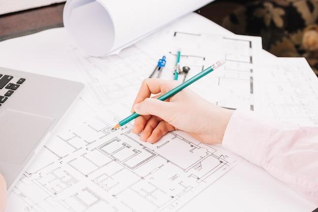 Conceito arquitetura, com, edifício, plano