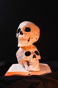 Conceito assustador com crânio e livro aberto