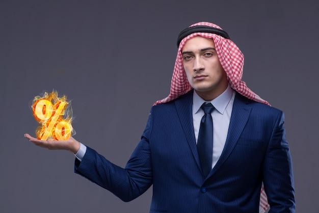Conceito bancário islâmico com árabe e sinal de porcentagem
