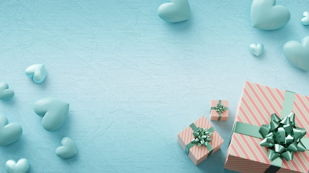 Conceito bonito com brilhantes corações azuis e caixas de presente. dia dos namorados