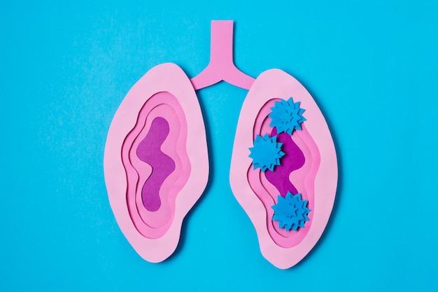 Conceito covid com vista superior do pulmão rosa