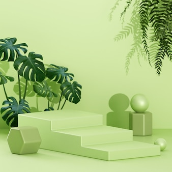 Conceito criativo arranjo minimalista da cena do palco do pódio para apresentação do produto