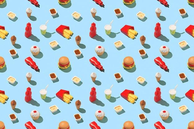 Conceito criativo de fast-food. padrão de fast-food sem costura em um fundo azul brilhante.