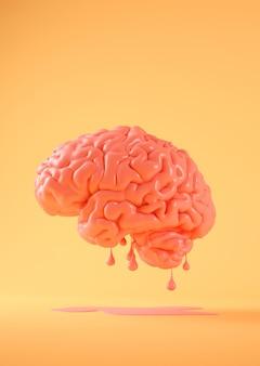 Conceito criativo de renderização 3d do cérebro em fusão