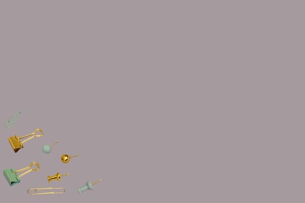 Conceito criativo de volta às aulas clipes de papel dourado e cinza e padrão de alfinete em um fundo roxo