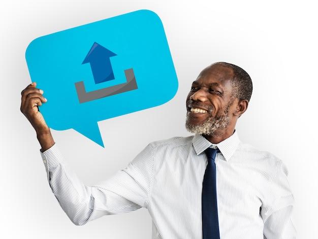 Conceito da bolha do discurso do espaço de communication connection copy do homem de negócios