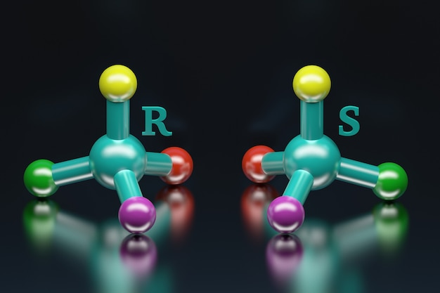 Conceito da ciência de moléculas coloridas simples. apresentação de enantiômeros estereoisômeros com letras r e s em pé para o reto e sinistro. ilustração 3d.