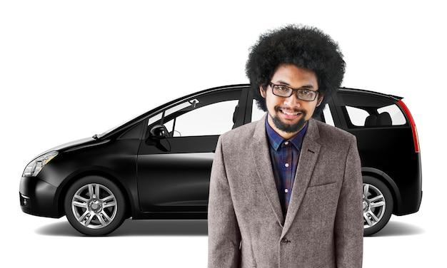 Conceito da ilustração do transporte 3d da carrinha do veículo do carro