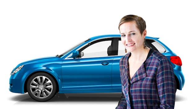 Conceito da ilustração do transporte 3d do veículo com porta traseira do veículo