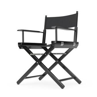 Conceito da indústria cinematográfica. cadeira de diretor de madeira preta em um fundo branco renderização em 3d