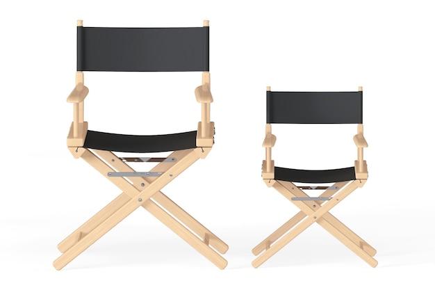 Conceito da indústria do cinema. cadeiras de diretores em um fundo branco