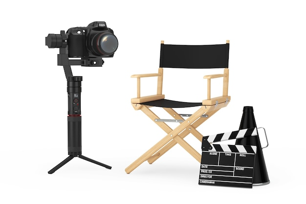 Conceito da indústria do cinema. dslr ou sistema de tripé de estabilização de cardan de câmera de vídeo perto da cadeira do diretor, movie clapper e megafone em um fundo branco. renderização 3d