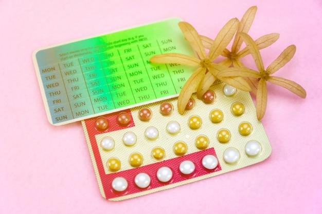 Conceito da instrução da contracepção com os comprimidos de controlo da natalidade.