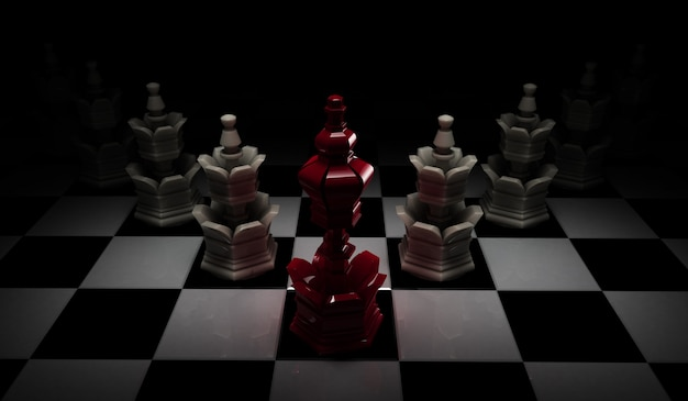 Conceito da liderança da xadrez com o rei vermelho e os penhores brancos isolados no fundo preto.